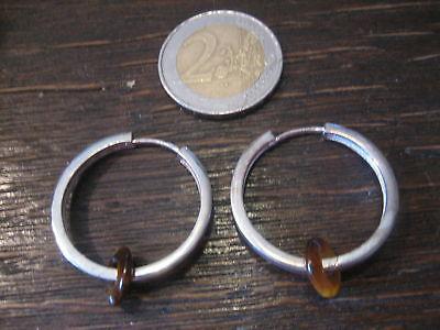 große Ohrringe Creolen 925er Sterling Silber Tigerauge Donut auswechselbar