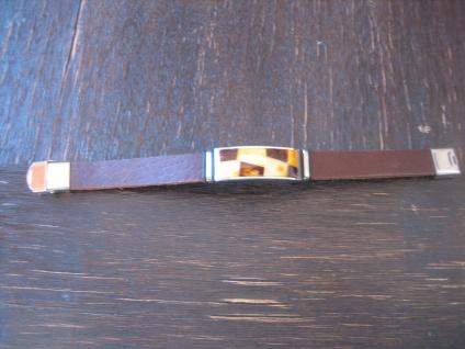 exklusives Herrenarmband Bernstein Armband braun Leder Edelstahl 1, 7 x 21 cm NEU