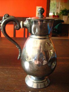 attraktive kleine Karaffe Silberkanne Kakaokanne England silber pl Shabby Chic - Vorschau 2
