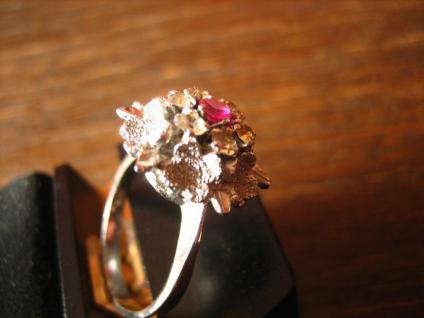 prächtiger 70er Jahre Designer Ring Weißgold Optik Rubin 925er Silber rhodiniert - Vorschau 3