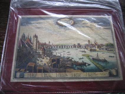 historische Stadtansicht Frankfurt am Main Messingbild coloriert Messinggravur B