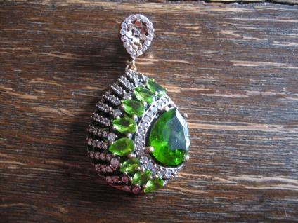 Kronjuwelen gesucht ? opulenter funkel Anhänger 925er Silber gold peridot grün