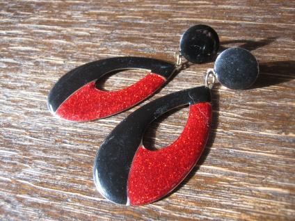 feurige riesige vintage Designer Ohrringe Clips Ohrclips Emaille schwarz rot - Vorschau 2
