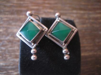 super schöne Ohrringe Hänger 925er Silber grüner Achat reine Handarbeit Unikat