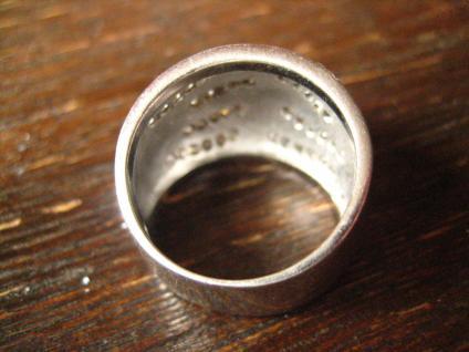 moderner edler breiter Designer Ring 925er Silber Emaille schwarz weiß Zirkonia - Vorschau 4