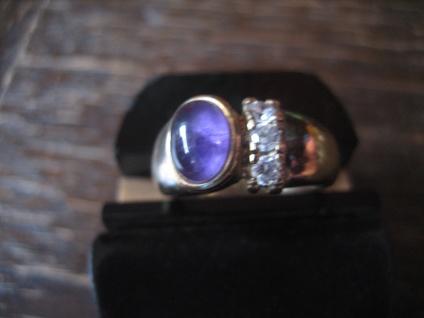 eleganter vintage Designer Ring Amethyst Zirkonia 925er Silber gold RG 55