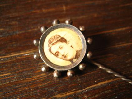 Jugendstil Medallion als Krawattennadel offen für Foto Doublé seltene Optik