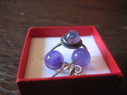 zartes antikes Kinder Schmuckset Ring Ohrringe 800er / 925er Silber Amethyst