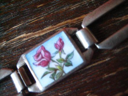 bezauberndes Jugendstil Armband emaillier Vier Jahreszeiten 835er Silber 18 cm - Vorschau 3