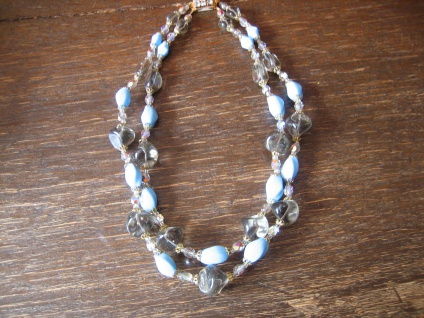 prächtiges Vintage Collier böhmische Glasperlen Türkis Pâte de Verre 60er Jahre