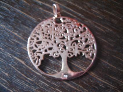 prächtiger großer Anhäger Lebensbaum Baum des Lebens 925er Silber rotgold 4 cm - Vorschau 2