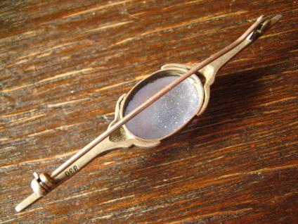 exklusive Art Deco Nadel Krawattennadel Brosche Chalzedon Chalcedon 830er Silber - Vorschau 4
