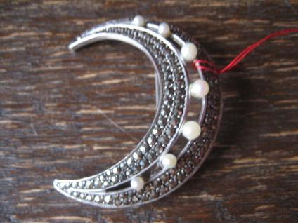 große elegante Art Deco Markasit Brosche Mond Halbmond 925er Silber TOP Zustand - Vorschau 2