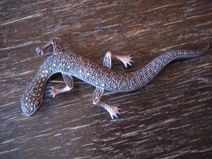 prächtige Art Deco Markasit Brosche Eidechse Salamander Gekko 825er Silber 9 cm