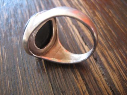 romantischer Vintage Ring Onyx Blume Blüte Blumenring 835er Silber ausgefallen - Vorschau 4