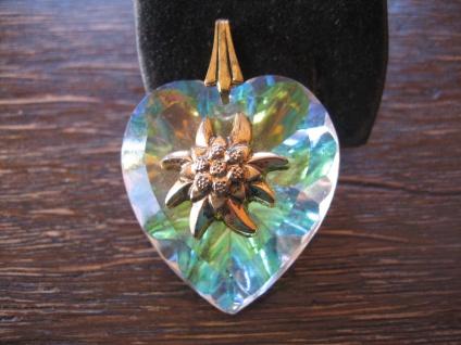 Vintage Trachtenschmuck Anhänger Edelweiß Aurora Borealis Glas Herz 1950 Dirndl