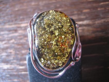 atemberaubender Statement Designer Ring 925er Silber grüner Bernstein Unikat NEU
