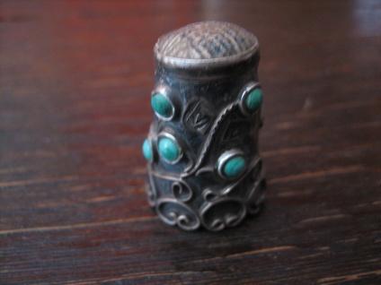 super schöner Fingerhut 925er Silber Türkis Besatz aufwändige Handarbeit Mexiko - Vorschau 2