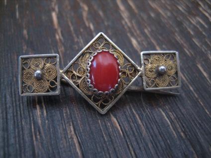 zierliche Jugendstil Brosche rote Koralle Silber gold allerfeinste Handarbeit