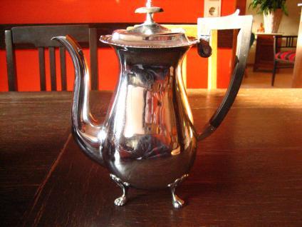 elegante große Kaffeekanne Teekanne Silberkanne auf Füssen silber pl England