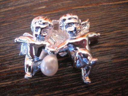 bezaubernder Anhänger 2 Engel Putto Putti mit Perle spielend 925er Silber NEU