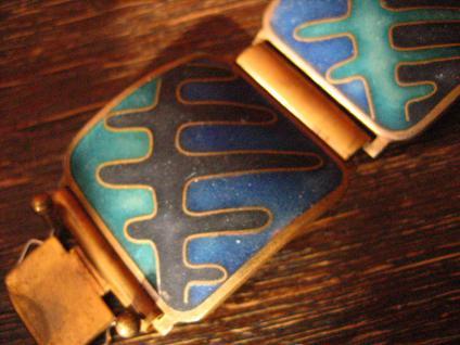 Vintage Designer Armband Emaille Stegemaille Perli Bunge Schibensky 3 cm breit - Vorschau 2