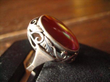 super schöner Art Deco Ring Carneol Goldschmiede Handarbeit 900er Silber RG 58 - Vorschau 3