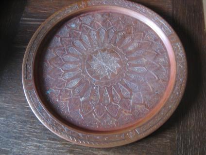 dekorative riesige Kupfer Schale Teller Tablett orientalisches Teetablett 44 cm