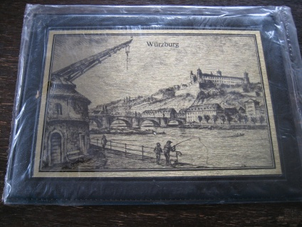 historische Stadtansicht Würzburg Messingbild Messinggravur gold