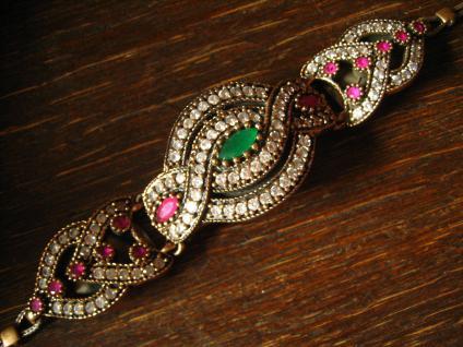 Kronjuwelen gesucht ? prächtiges Rubin Smaragd Armband Armreif Handarbeit Unikat - Vorschau 2