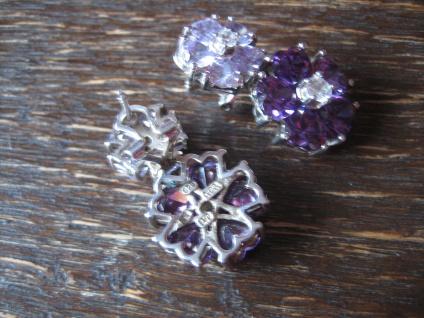 Kronjuwelen gesucht ? opulente Ohrringe Hänger 925er Silber Zirkonia Amethyst - Vorschau 3