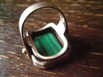prächtiger Art Deco Designer Ring Malachit strahlend grün 835er Silber RG 58 - Vorschau 4