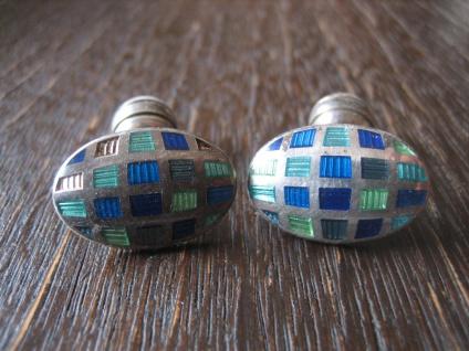 avantgardistische Manschettenknöpfe Emaille blau türkis 925er Silber England