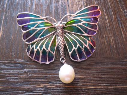 traumhafte Schmetterling Brosche 925er Silber Emaille Butterfly enamel Brooch