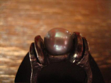 prächtiger Vintage Designer Ring große Perle grau tolles Lüster 925er Silber 54 - Vorschau 2
