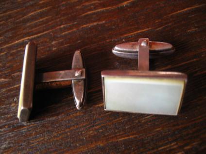 zeitlos elegante Art Deco Manschettenknöpfe 835er Silber Perlmutt Einlage - Vorschau 2