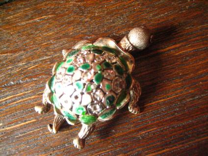 super niedliche Schildkröte vintage Brosche 925er Silber Emaille plastisch - Vorschau 3