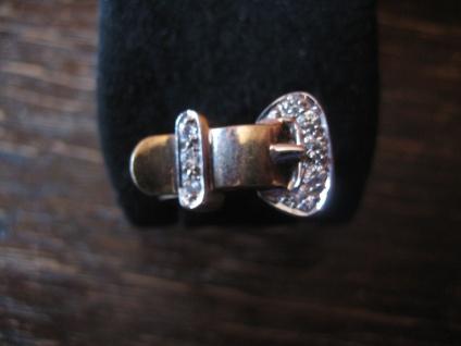 edler moderner Designer Gürtel Ring Gürtelring 925er Silber vergoldet Zirkonia