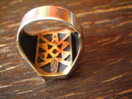prächtiger Herrenring Adler Wappen reich verziert 925er Silber gold G 65 20, 5 mm - Vorschau 3