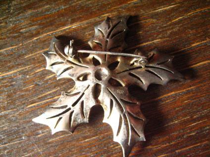 große Art Deco Markasit Brosche Weihnachtsstern Stern Blume Blüte 835er Silber - Vorschau 2