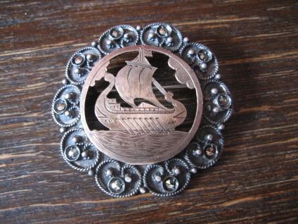 prächtige antike Wikinger Brosche Drachenboot Wikingerschiff Silber Rotgold