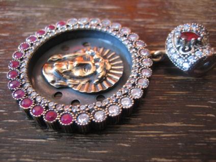 Kronjuwelen gesucht ? opulenter Jesus Anhänger 925er Silber gold rubin Zirkonia - Vorschau 2