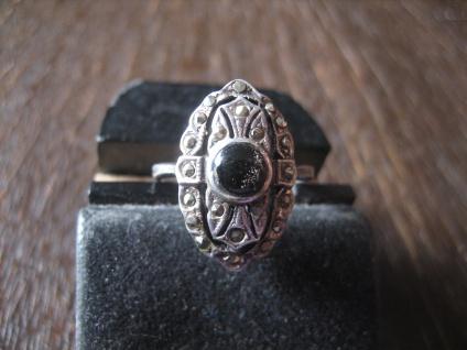 nostalgischer Art Deco Onyx Markasit Ring 925er Silber 17 mm RG 54 wunderschön