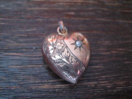 super süßer Jugendstil Anhänger Herz rotgold Doublé fein graviert kleine Perle - Vorschau 2