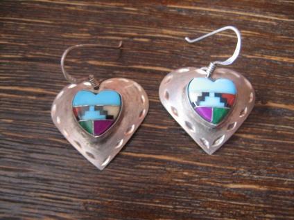 Herz Ohrringe 925er Silber Einlegearbeit Indianer Indianerschmuck Navajo Zuni