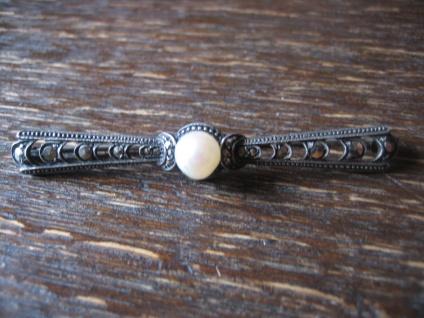 elegante Jugendstil Krawattennadel Stabnadel Brosche Markasit Perle 835er Silber