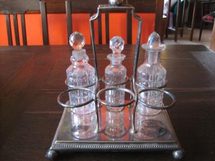 große antike Gewürz Menage Essig Öl Halter für 6 Flaschen silber pl + 3 Flacons