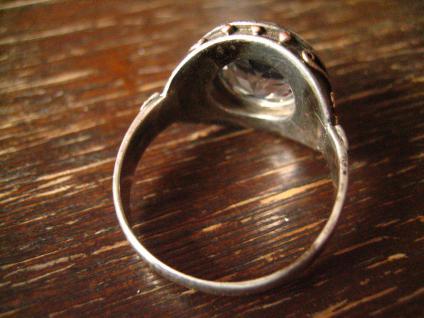 vintage Ring aquamarin Stein 835er Silber tolle Fassung gold 19, 5 mm RG 61 - Vorschau 4