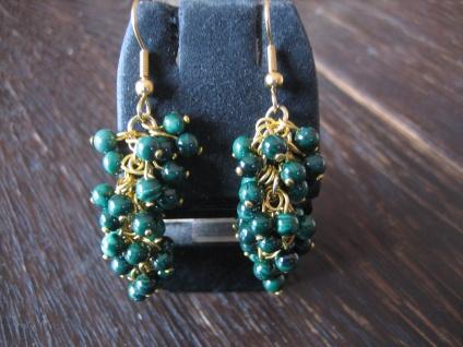 zauberhafte Ohrringe Hänger Malachit Kugeln gold grün bewegliche Trauben NEU