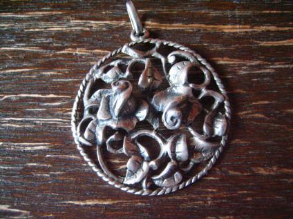 reizender antiker Rosen Anhänger Rose plastisch 835er Silber Tracht Dirndl 3 cm